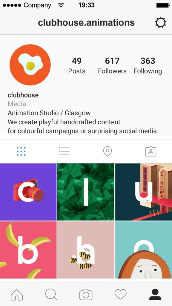 Clubhouse instagram grid