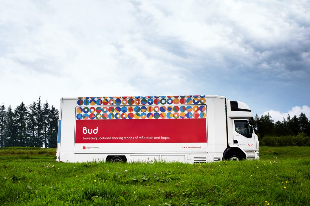 Bud truck showing brand and personalised logos