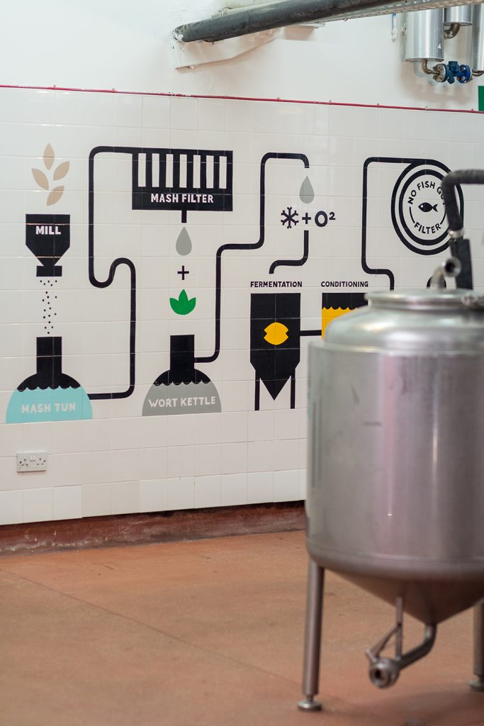 west brewery - brewing process infographic painted on tiles in brewery