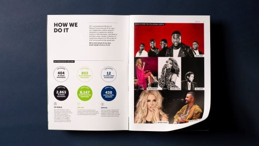 The SSE Hydro brochure spread - infographics and performers