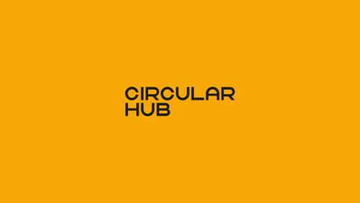 Circular hub logo on yellow