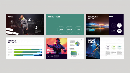 The SSE Hydro - Examples of the digital reports with infographics showing key findings